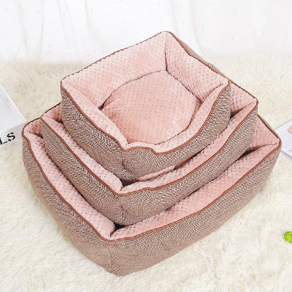 Cotton linen corn kernels pet dog cat bed for small medium