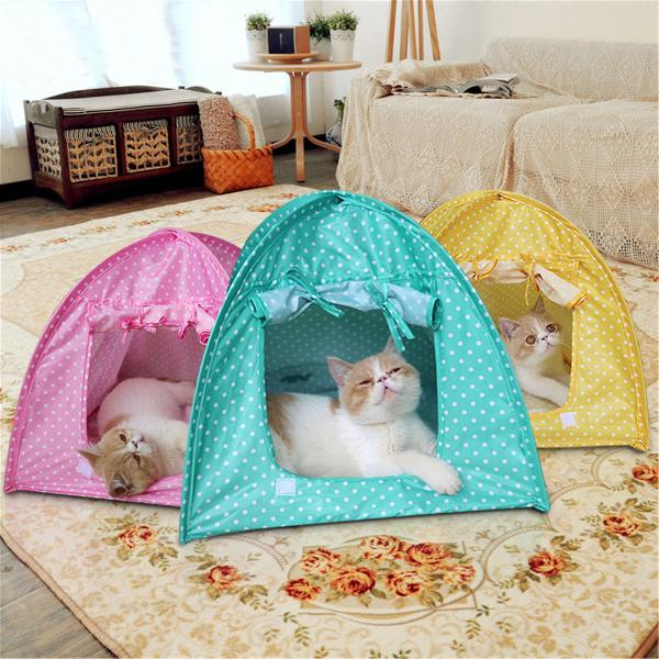 Foldable Pet Cat Tent Playing Bed House Kitty Camp