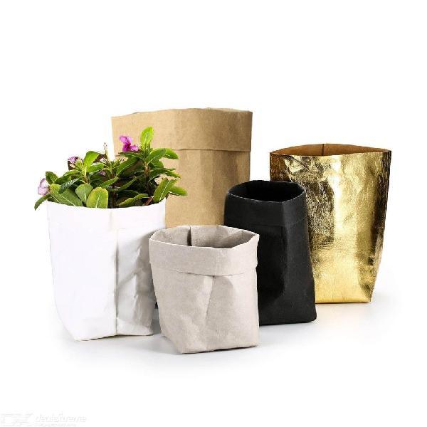 Kraft paper flower pot washable decorative planter box