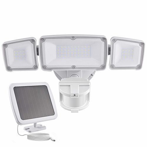 Led motion sensor light with 3 adjustable head, 6000k, ip65