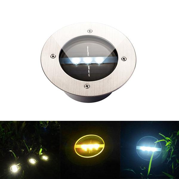 Outdoor solar light 3 led stainless steel buried ground