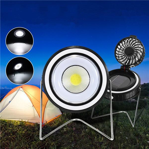 Portable solar powered cob working light rotating fan usb