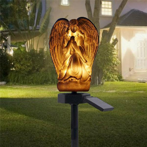Solar led ground buried light angel ornament garden lawn