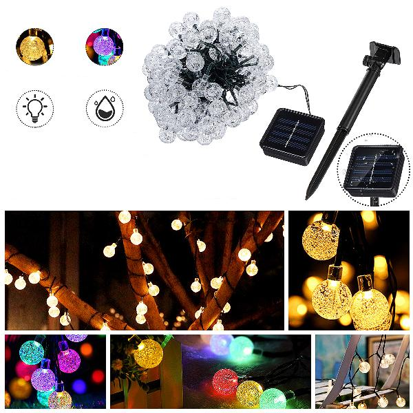 Solar powered 12m 100 led crystal ball string fairy light