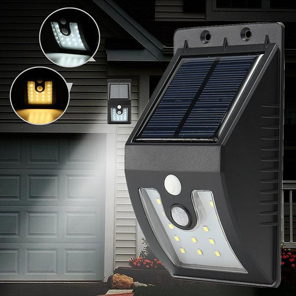 Solar powered 16 led pir motion sensor wall light outdoor