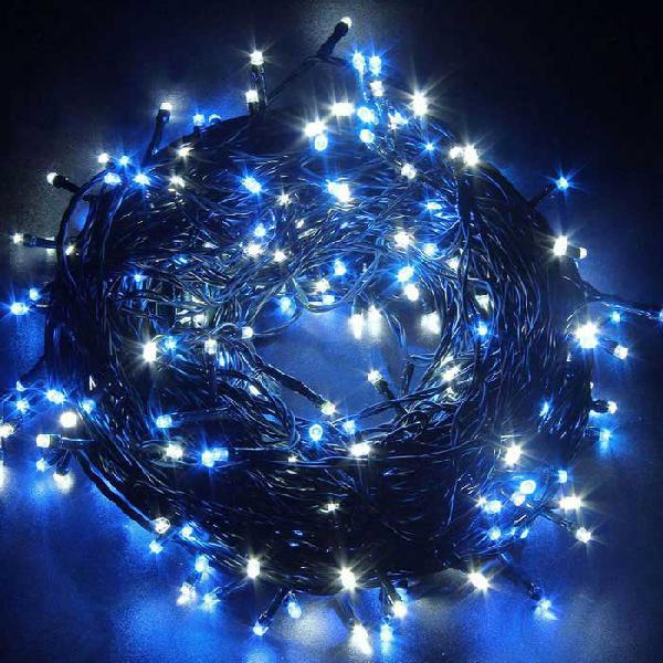 Solar powered decorative twinkle blue light led light string