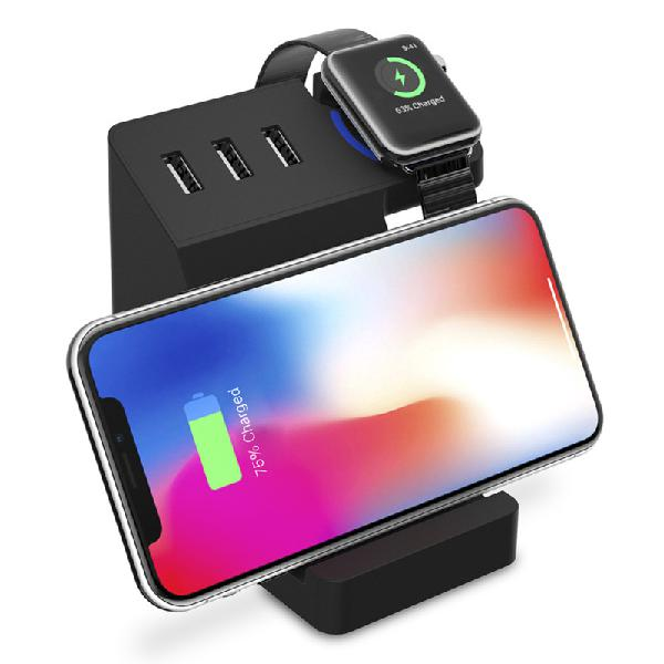 Bakeey 3 usb ports qi wireless charging desktop phone holder