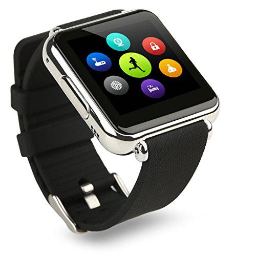 Bluetooth smart watch silver case with sim slot camera works