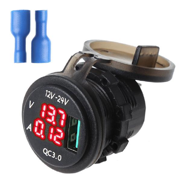 12v/24v qc 3.0 led usb charger socket voltmeter current