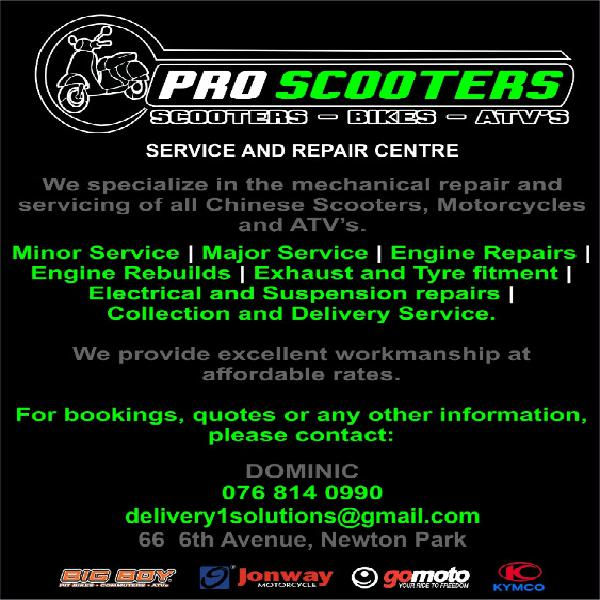 Pro scooters. service and repairs.