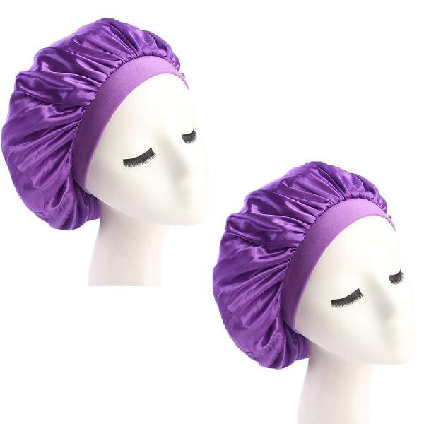 2pack womens wide band soft silky satin bonnet night sleep