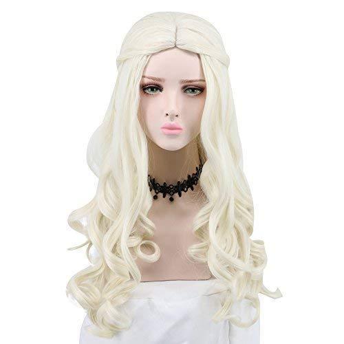 Yuehong Women Girl's Long Curly White Wig Movie Cosplay...