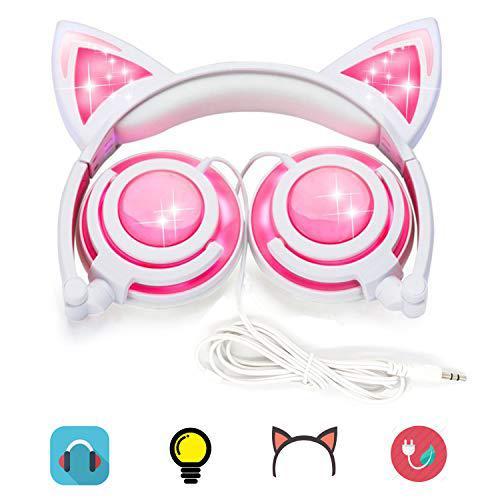 Kids cat ear headphones rechargeable led lights usb