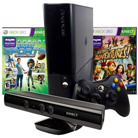 Microsoft xbox 360 e 250gb console + kinect sensor + 2 games