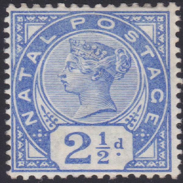 Natal 1884: sacc106 2½d bright blue mm cv r150