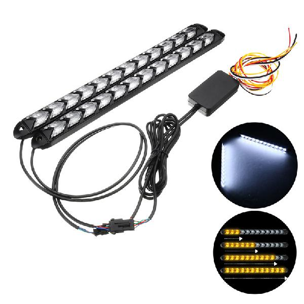 12v 2pcs 2835 switchback turn signal headlight led strip drl