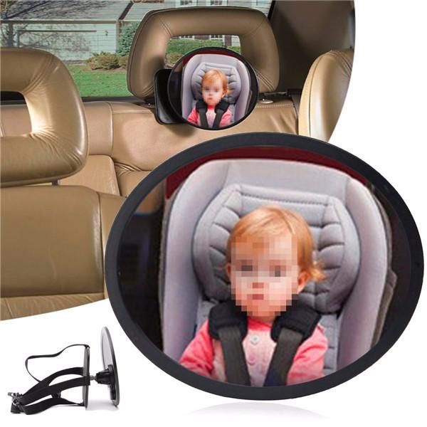Adjustable large oval wide view mirror child baby car safety
