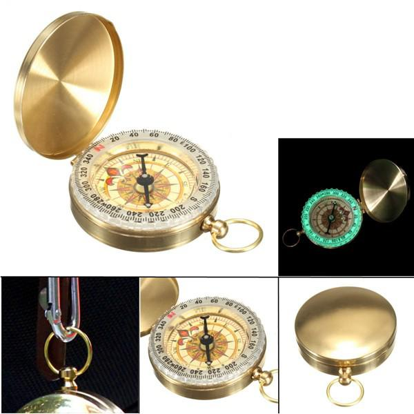 Pocket watch compass classic keychain camping hiking