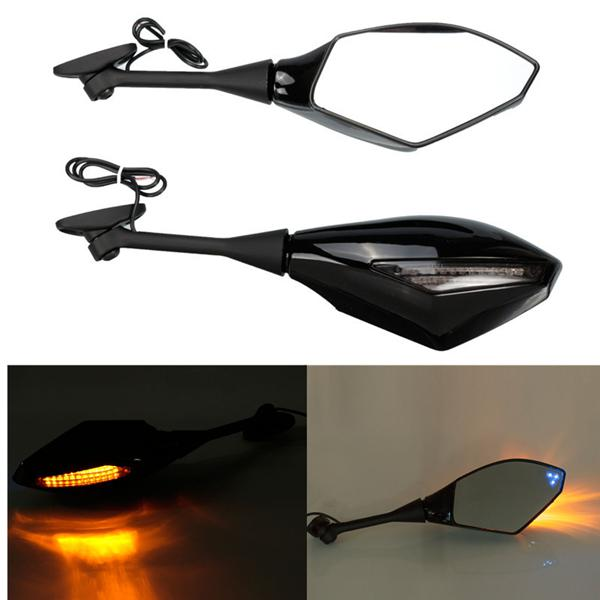 Blue design led turning signal mirrors for honda suzuki