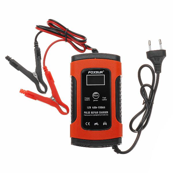 Foxsur 12v 5a pulse repair lcd battery charger red for car