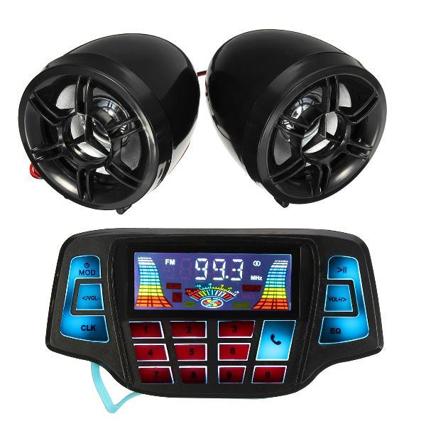 Motorcycle handlebar mp3 balck speakers audio system usb sd