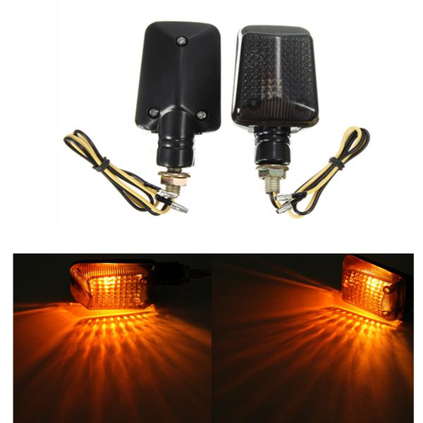 Pair 12v motorcycle mini turn signal lights indicators lamps