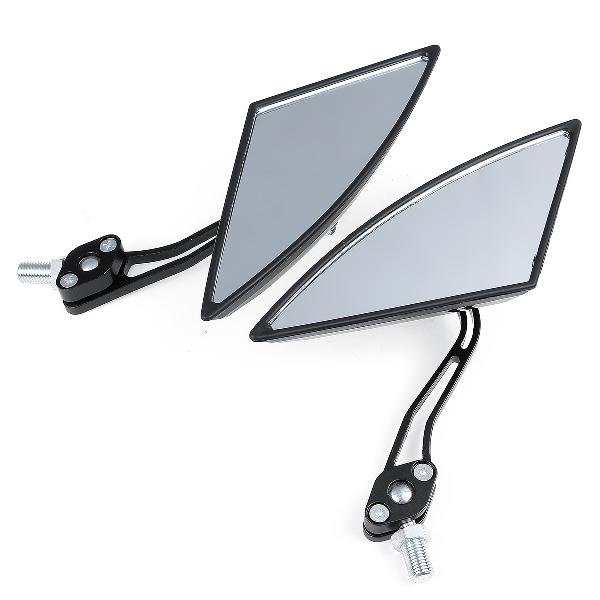Pair universal motorcycle aluminum rod rearview side mirrors