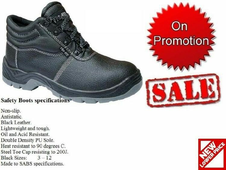 Safety boots, safety shoes, gumboots, overalls, house coat,