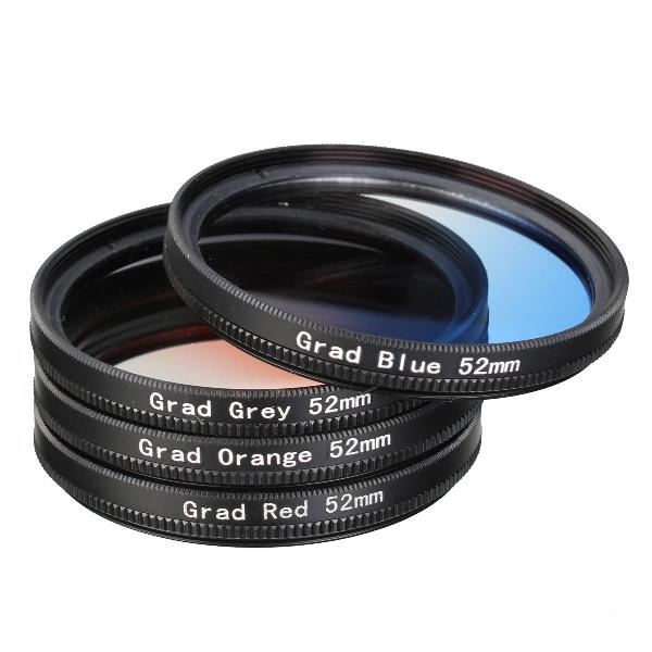 4 pieces 52mm graduated color lens filter for dslr camera