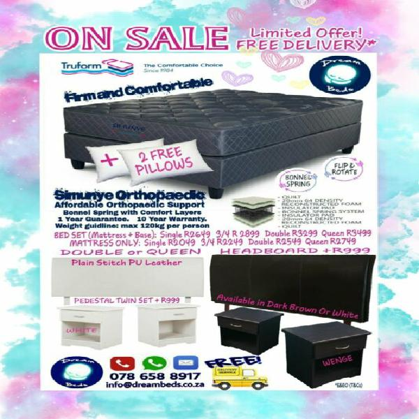 Orthopedic double mattress and bed base set on sale - 2 free