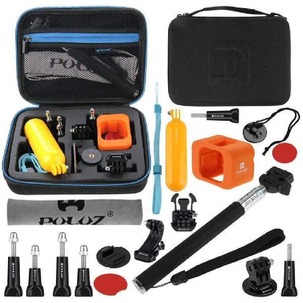 Puluz 18 in 1 combo accessory with eva case for gopro