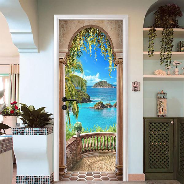 3d sea balcony arch door wall sticker self-adhesive mural