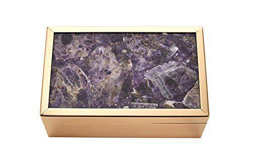 Benzara enchanting metal and wood storage agate top, purple