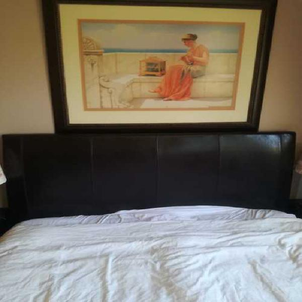 Sleigh queen bed with side matching drawers and two side