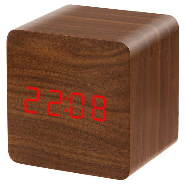 Voice activated electronic led display wooden alarm clock