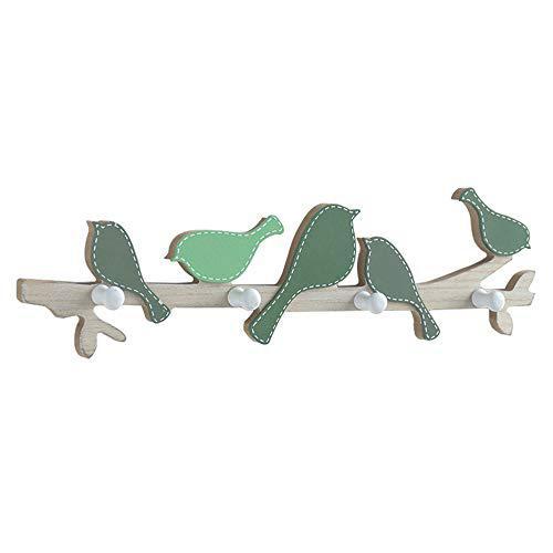 Wall mounted floating shelf bird shape coat rack with 4