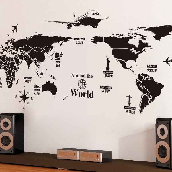 World map wall stickers removable pvc map of the world art