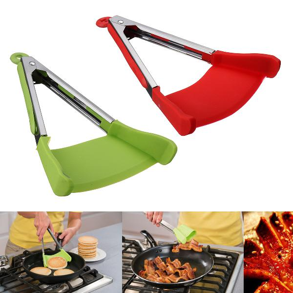2 in 1 non-stick clever tongs heat resistant silicone