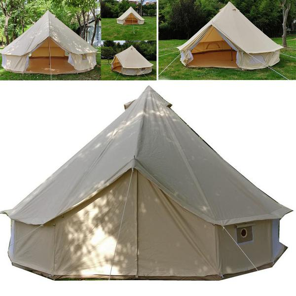 3m 4m 5m 6m large bell tent waterproof cotton canvas