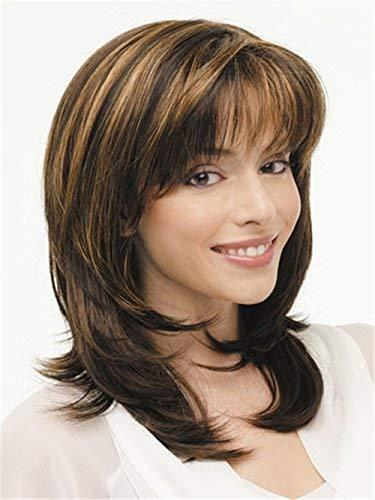 Brown wigs ombre blonde medium length curly wigs with...