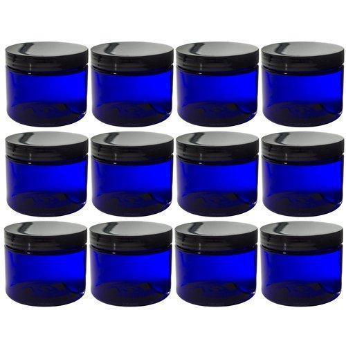 Cobalt blue 2 oz pet (bpa free) plastic jar (12 pack) +