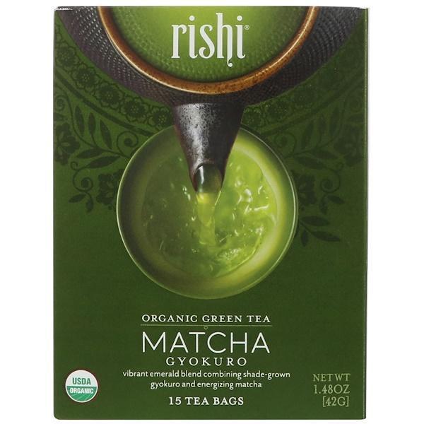 Rishi tea, organic green tea, matcha gyokuro, 15 tea bags,