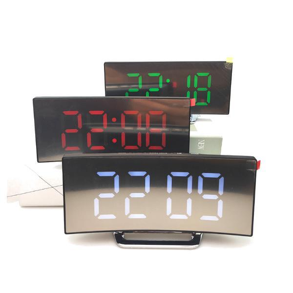 Usb rechargeable mirror led alarm clock night lights