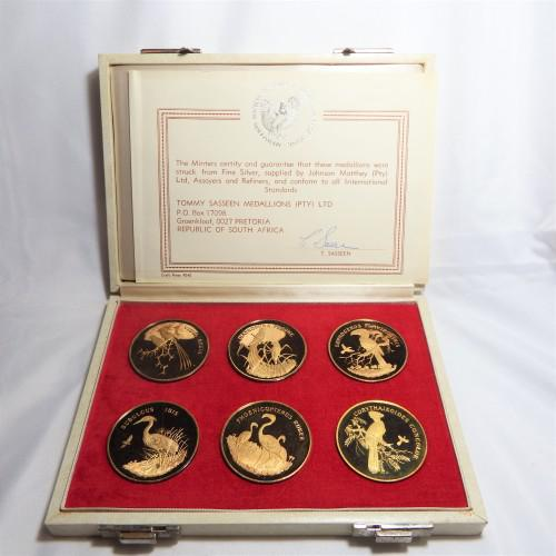 Birds of africa gold plated sterling silver medallion set in