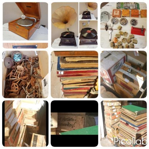 2 gramophones - 1600 78speed records - 4500 neeldes - parts