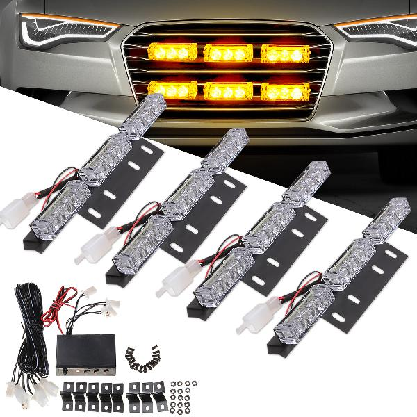 Led car grille strobe light mini police emergency warning