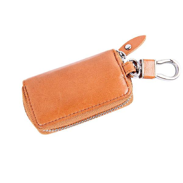Universal pure cow leather waist hanging zipper wallets key