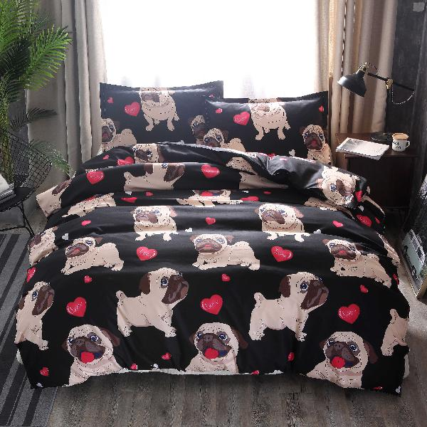 3 pcs bedding sets animal lovely dog printing quilt cover