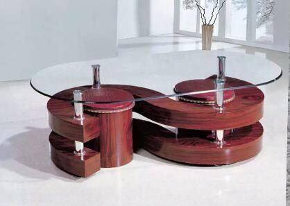Coffee tables (tempered glass with two stools)