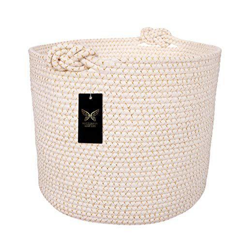Cotton rope basket | decorative & large blanket basket for